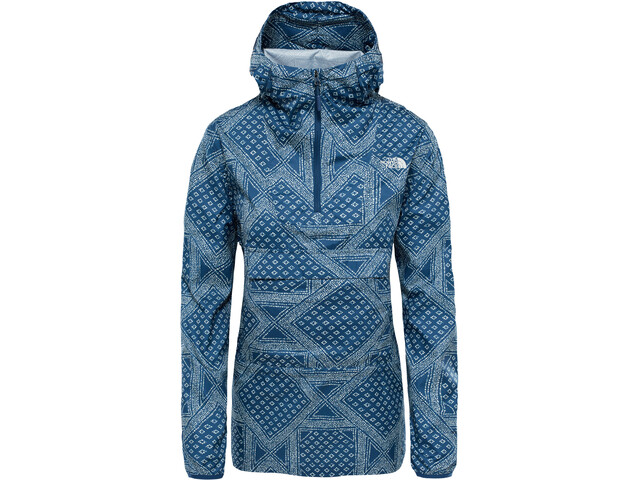 The North Face Fanorak Pullover Dame blue wing teal bandana print